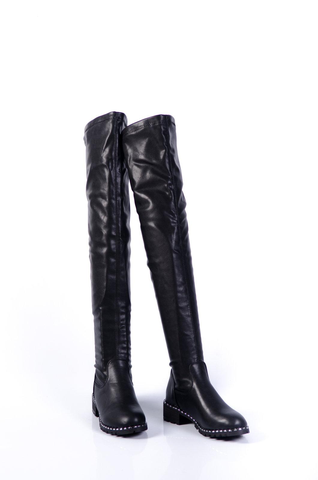 """52978385ca8 Дамски чизми от стреч-кожа """" ..."""